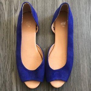 H&M Royal Blue Peep Toe d'Orsay Slip On Flats